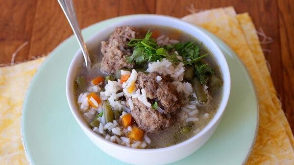Рецепт супа с фрикадельками и рисом