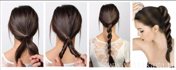 Прически на длинные волосы коса-жгут