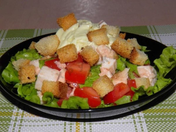 Рецепт греческого салата с сухариками